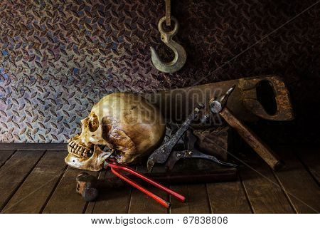 Still Life with a Skull and concept on the art. poster