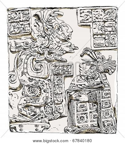 Maya  relief Lady Wak Tuun, during a blood-letting rite in AD 755,