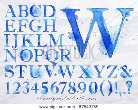 Alphabet watercolor blue