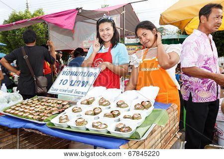 An Unidentified Thai People Sell In Night Market Walk Street