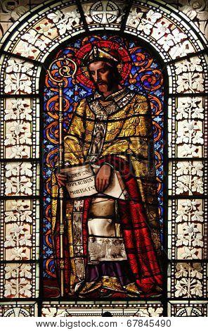 PARIS, FRANCE - NOV 10, 2012: St. Martin, stained glass, Saint-Vincent-de-Paul Church (design Jean-Baptiste Lepere, was built during 1824 - 1844) dedicated to Saint Vincent de Paul