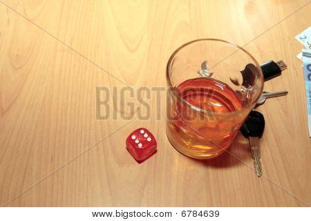Bourbon Glass Dice And Keys