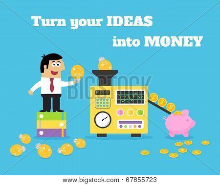 Business life employee put lightbulbs in ideas money converter vector illustration poster