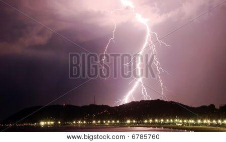 Lightning Bolt Striking The City Of Santos In Brazil