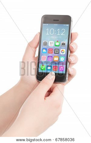 Female Hands Holding Black Smart Phone With Colorful Application Icons On The Screen