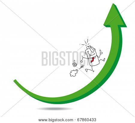 growth. Joe the businessman is running on a green arrow. It's a metaphor, he is able to reach his goal