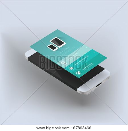 vector illustration of smartphone app flat style Ui poster