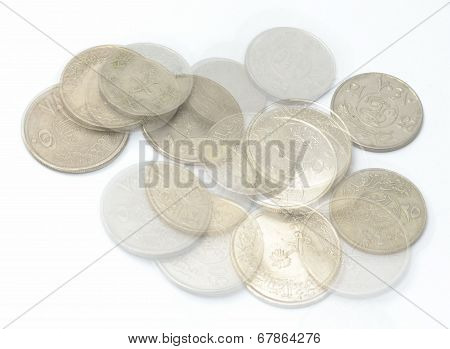 Saudi Metal coins and transparent coins