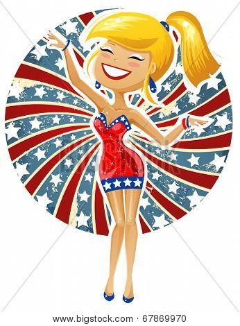 Cute blonde celebrating 4th of July