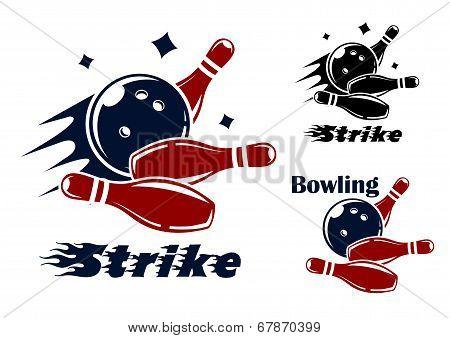 Bowling icons and symbols