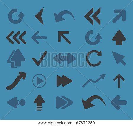 arrow, navigation, direction icons, signs, symbols set, vector poster