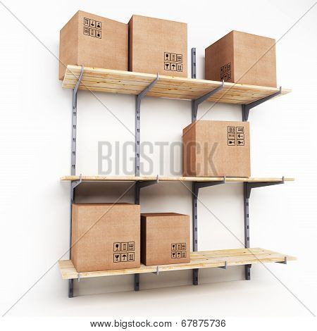 Rack With Cardboard Boxes
