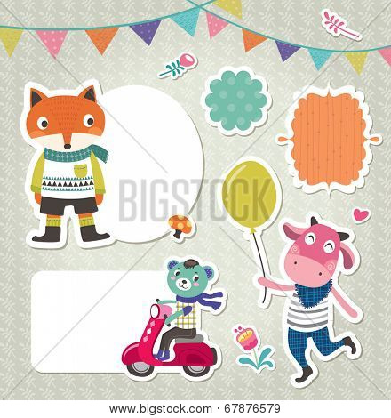 Stickers & gift tags with cute animals & frames