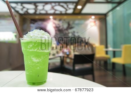 Green Tea Smoothie With Whipped Cream