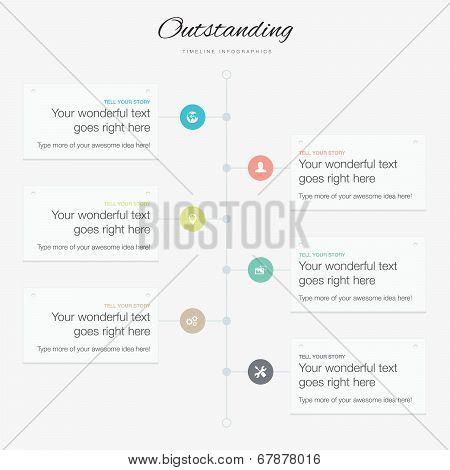 Timeline infographic vector template flat inspirational colors