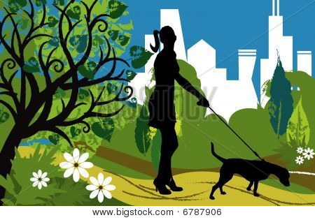 Woman With A Dog (park)