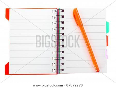 Orenge Pen On Blank Note Book