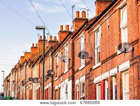 Row Of Terrace Houses, Almost All With Satellite Dishes.