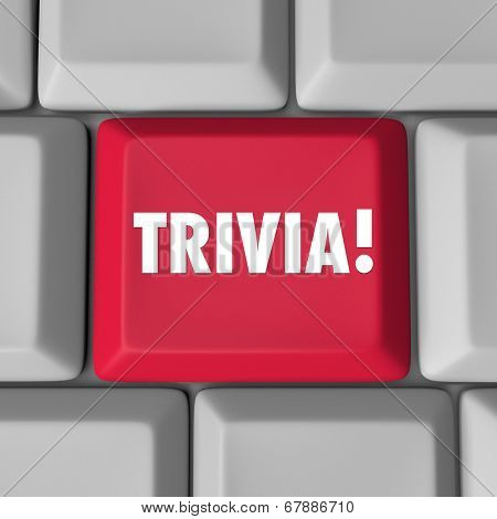 Trivia word on a red computer key or button play a fun pop culture knowledge game