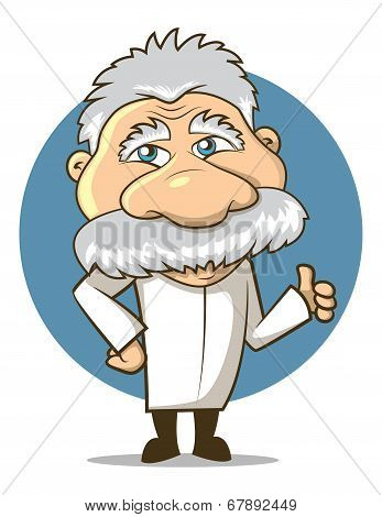 poster of Einstein Styled Cartoon Professor wearing a labcoat