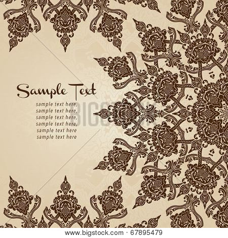 Vector card in east style on moroccan seamless background