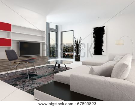 Modern living room interior with a large television set in wall-mounted cabinets, a large upholstered sofa and small corner windows in white decor with red accents