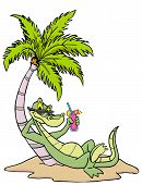 Hand drawn cartoon gator relaxing under a palm tree poster