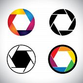 Camera lens shutter aperture abstract icons - vector graphic. This illustration also represents slr camera point & shoot camera camera focus etc poster