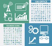 200 office, business, media, technology icons, signs, symbols set, vector poster