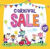 Carnival sale poster with cute animals poster