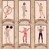 Vintage circus characters set: acrobat the bearded lady gymnast strong man harlequin mime poster