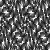 Design seamless monochrome grid geometric pattern. Abstract warped textured background. Vector art. No gradient poster
