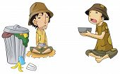 Poor beggar icon collection set create by vector poster
