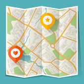 Abstract city folded map with location markers. poster