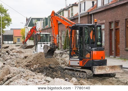 Breaking up the street to renew the sewerage - horizontal image poster