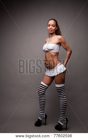 Flat Stomach Long Striped Legs Model