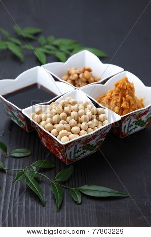 group shot of Japaneese traditional soybean processed foods