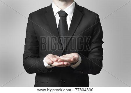 Businessman Begging Gesture Black Suit