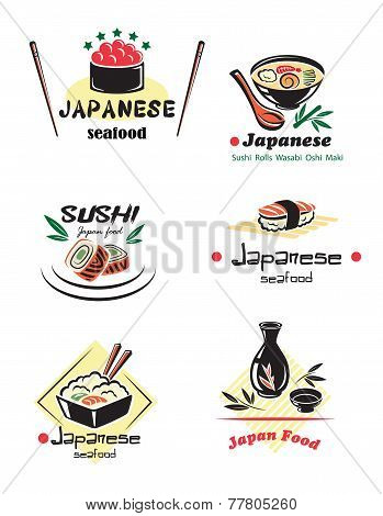 Colored japanese seafood set