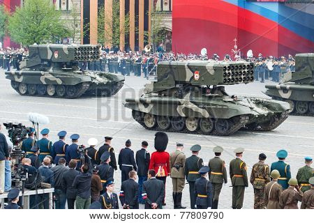 MOSCOW - 6 May 2010: TOS-1 - Heavy Flame Thrower System. Dress rehearsal of Military Parade on 65th anniversary of Victory in Great Patriotic War on May 6, 2010 on Red Square in Moscow, Russia