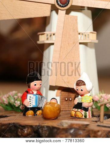 Nativity Scene With Holy Family In Dutch Style And A Windmill
