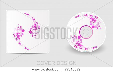 CD DVD Blu-ray white cover design template.  Abstract square background. Vector illustration EPS 10