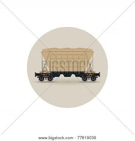 Icon  Hopper Car  For Transportation  Freights,  Vector Illustration