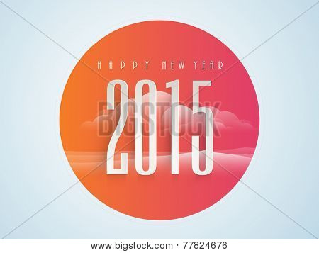 Colorful sticker, tag or label design for Happy New Year 2015 celebrations on nature background.
