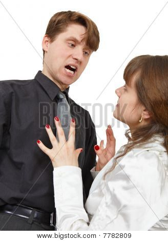 Man Terribly Shouts At Young Woman