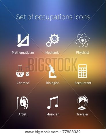 Set of occupations icons - mathematician, mechanic, physicist, chemist, biologist, accountant, artis