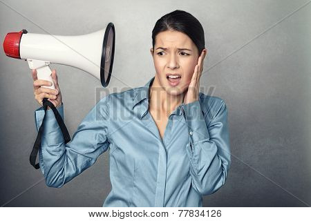 Young Woman Holding A Megaphone