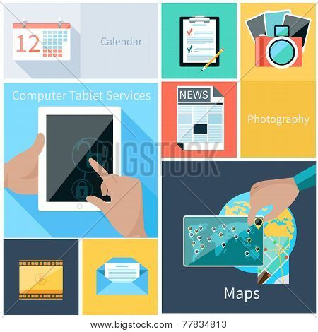 Concept for web application and computer services for tablet with user hand unblocking digital tablet and calendar, news, maps, photography, email icons poster