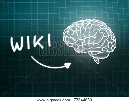 Wiki Brain Background Knowledge Science Blackboard Turquoise