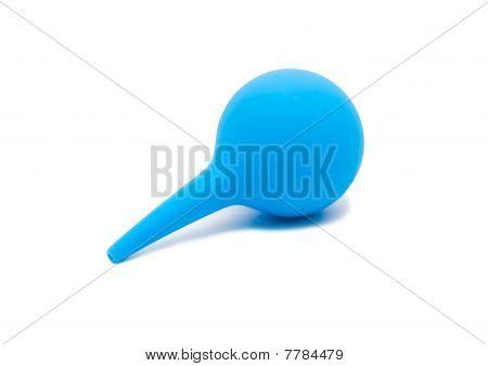 Blue Enema Syringe On White Background